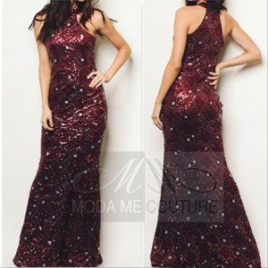 Burgundy Sequin Gown Maxi Dress Formal Wedding